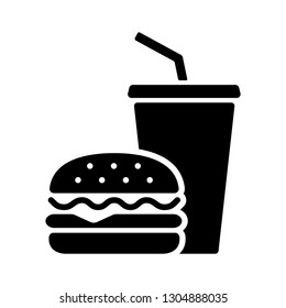 Hamburger and soda takeaway, Fast food icon, Silhouette flat design on white background, Vector illustration