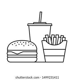 Hamburger soda takeaway and french fries, Fast food icon sign, Outline flat design on white background, Vector illustration