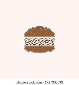 hamburger vector illustration and burger writing for icon, symbol or logo. burger product label