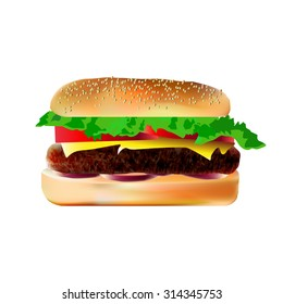 hamburger, vector illustration, isolated image