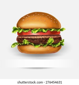 hamburger, vector, with space for text