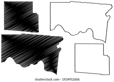 Hamilton and Hardin County, Ohio State (U.S. county, United States of America) map vector illustration, scribble sketch map