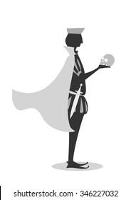 Hamlet cartoon silhouette with skull