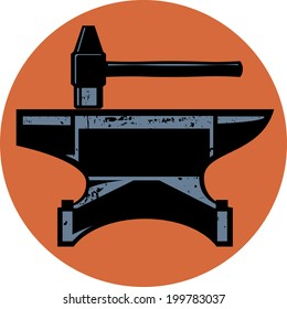 A hammer and anvil iconic design emblem