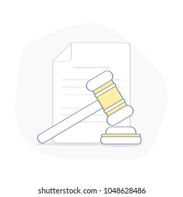 Hammer for auction and contract. Legal proceedings, bargaining, bidding, court, attorney, law and justice icon concept, Lawyer. Flat outline juridical vector illustration on white background.