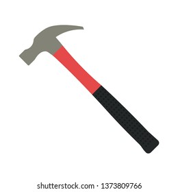 Hammer. Color silhouette. Vector illustration. Isolated object on white background. Isolate.