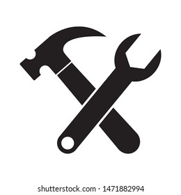 Hammer icon design. Hammer and wrench icon design. Hammer and wrench flat style design. Vector illustration.