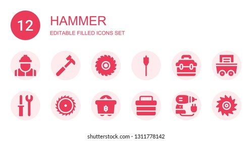 hammer icon set. Collection of 12 filled hammer icons included Worker, Hammer, Saw, Auger, Toolbox, Tools, Mining, Driller