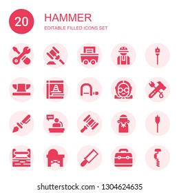 hammer icon set. Collection of 20 filled hammer icons included Tools, Hammer, Mining, Worker, Auger, Anvil, Maintenance, Hacksaw, Judge, Prehistoric, Toolbox, Saw, Drill