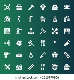 hammer icon set. Collection of 36 filled hammer icons included Toolbox, Saw, Tools, Mining, Tool, Drill, Handsaw, Auger, Hammer, Crossbow, Punishment, Worker, game, Maintenance