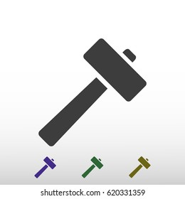 hammer icon, stock vector illustration flat design style