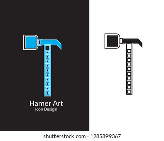 Hammer Icon in trendy flat style isolated on white and black background for your web site design