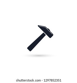 Hammer icon. Vector illustration. Hammer icon isolated on white. Hammer sign.