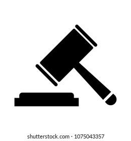 Hammer judge vector icon. Flat  tribunal symbol for your web site design, app, UI. Vector illustration.