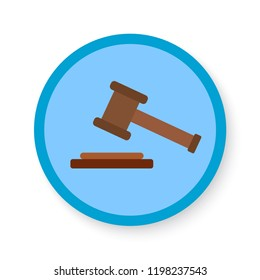 hammer of justice blue icon. vector illustration