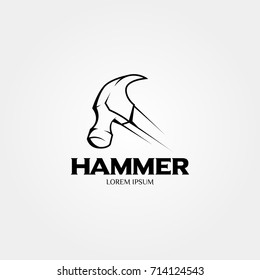 Hammer logo for construction, maintenance, property, home repairing business company. Vector illustration. Suitable for label, name card, branding, identity template