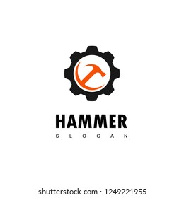 Hammer Logo with Gear Symbol For construction And Manufacturing