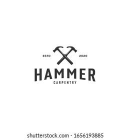 hammer logo vector emblem vintage design