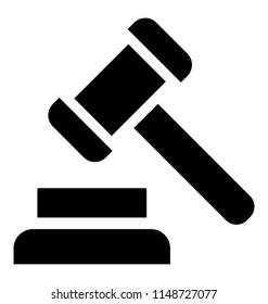 A hammer with the mallet used in courts by judge to order, auction hammer