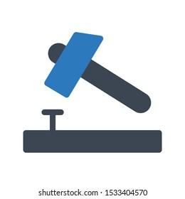 hammer nail glyph color vector icon