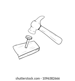 hammer and nail icon vector