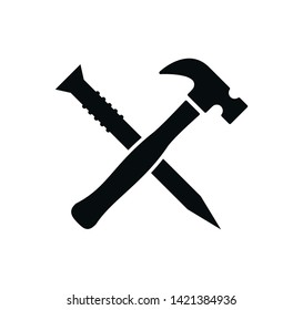 Hammer and nail icon vector flat style