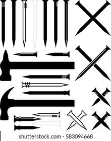 Hammer Nail Icon Vector Illustration