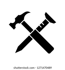Hammer nails icon, vector illustration