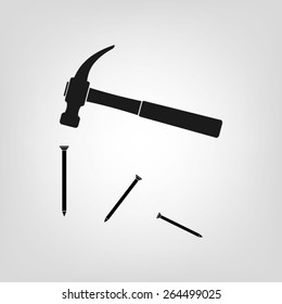 Hammer and nails icon vector illustration eps10