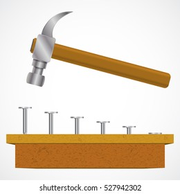 Hammer, nails and wood planks. Vector illustration