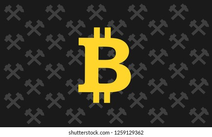 Hammer and pick as symbol of minig with bitcoin - cryptucurrency and virtual digital currency is gained and earned by mining. Profitable economical digging. Vector illustration.