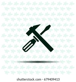 Hammer and Screwdriver Icon. Vector illustration