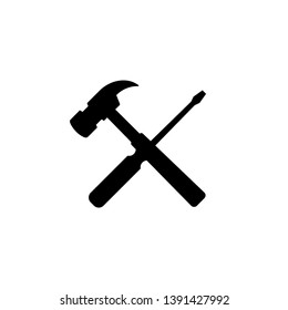 the hammer and screwdriver. Isolated Vector Illustration