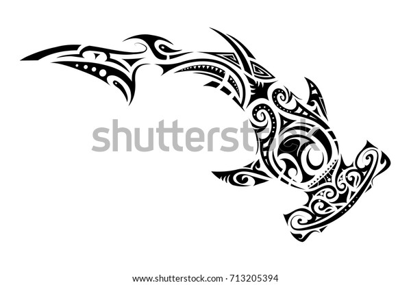 Vetor Stock De Tatuagem Tubarao Martelo Em Estilo Tribal Livre De