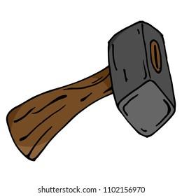 Hammer. Sledgehammer. Vector illustration of a sledgehammer, a hammer. Hand drawn sledgehammer.