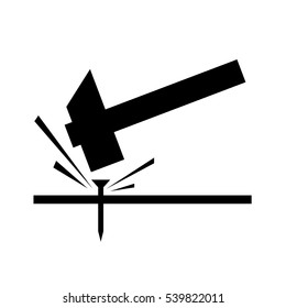 hammer striking a nail, vector hit vector icon illustration - down striking beat logo silhouette. Hammer noise icon. Technology icon symbol,