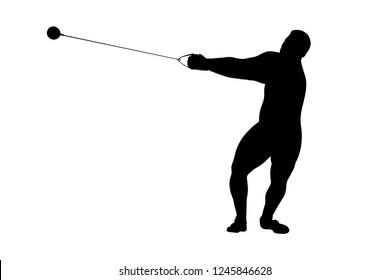 hammer throw male athlete black silhouette