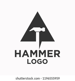 Hammer in Triangle Logo Design. For Home Maintenance Services and Construction and Home Repair