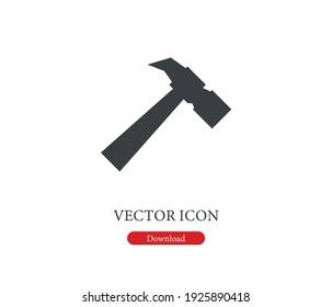 Hammer vector icon. Editable stroke. Symbol in Line Art Style for Design, Presentation, Website or Apps Elements, Logo. Pixel vector graphics - Vector