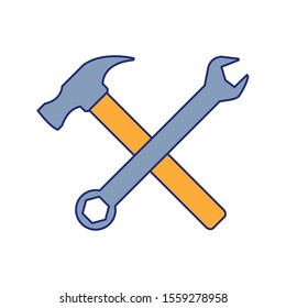 hammer and wrench icon over white background, vector illustration
