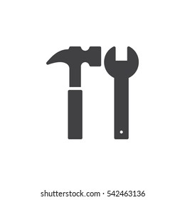 Hammer and wrench icon vector, filled flat sign, solid pictogram isolated on white. Tools symbol, logo illustration