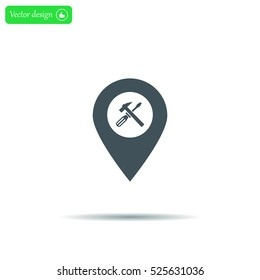 hammer and wrench on map pointer.vector illustration.