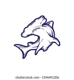 hammerhead shark black and white vector illustration