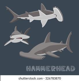 Hammerhead Shark Cartoon Vector Illustration