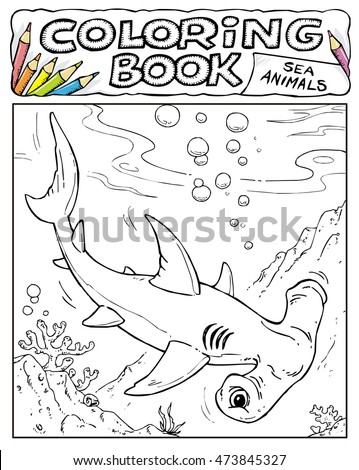 Hammerhead Shark Coloring Book Pages Sea Stock Vector Royalty Free
