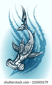 Hammerhead shark with a decorative tribal pattern swimming through blue water  vector illustration
