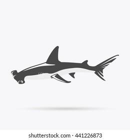 Hammerhead shark icon isolated on white background. Vector illustration