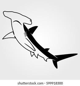 Hammerhead Shark icon isolated on white background.