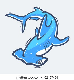 Hammerhead shark sea life vector illustration