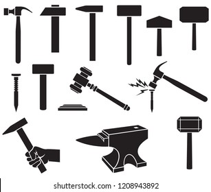 Hammers icons set - black silhouettes (gavel, nail, weapon of Thor)